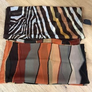Two silk scarves in rich earth tone scarves